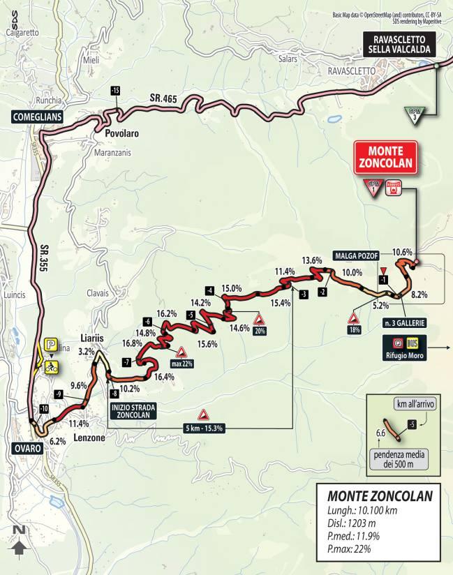 Plano de la subida al Monte Zoncolan en el Giro de Italia 2018.