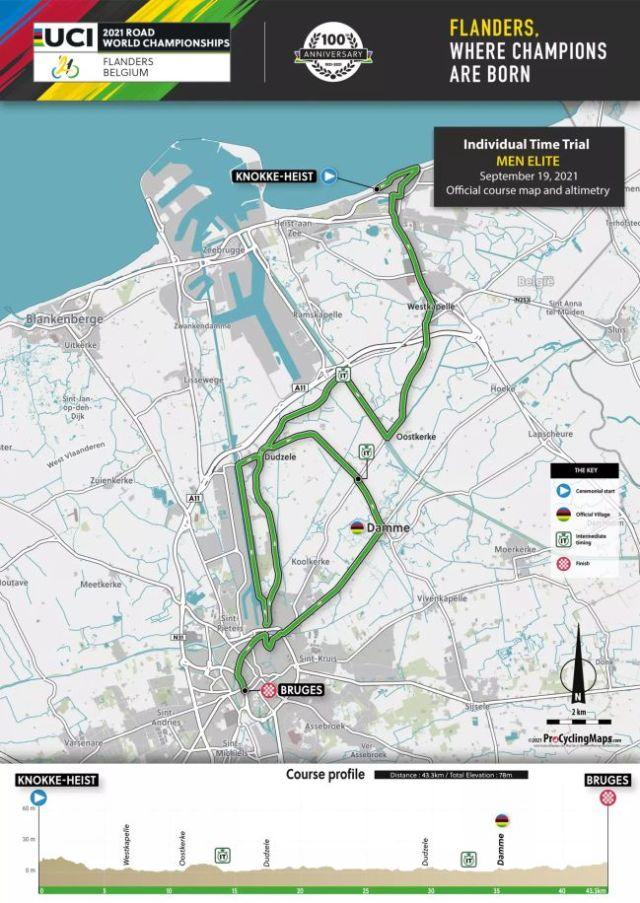 Perfil y recorrido de la prueba contrarreloj élite masculina de los Mundiales de Ciclismo en Ruta de Flandes 2021.