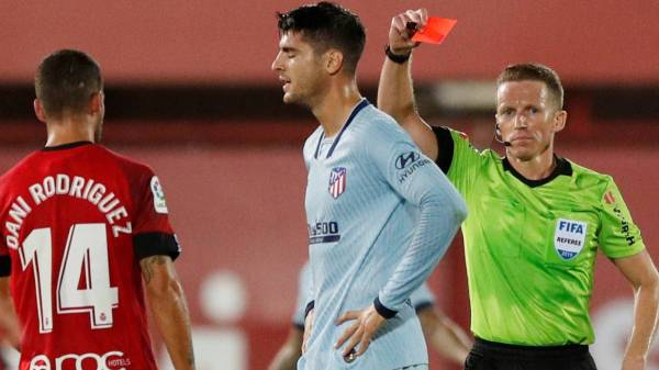 Morata set to miss Madrid derby, after Atlético striker sees red at Mallorca