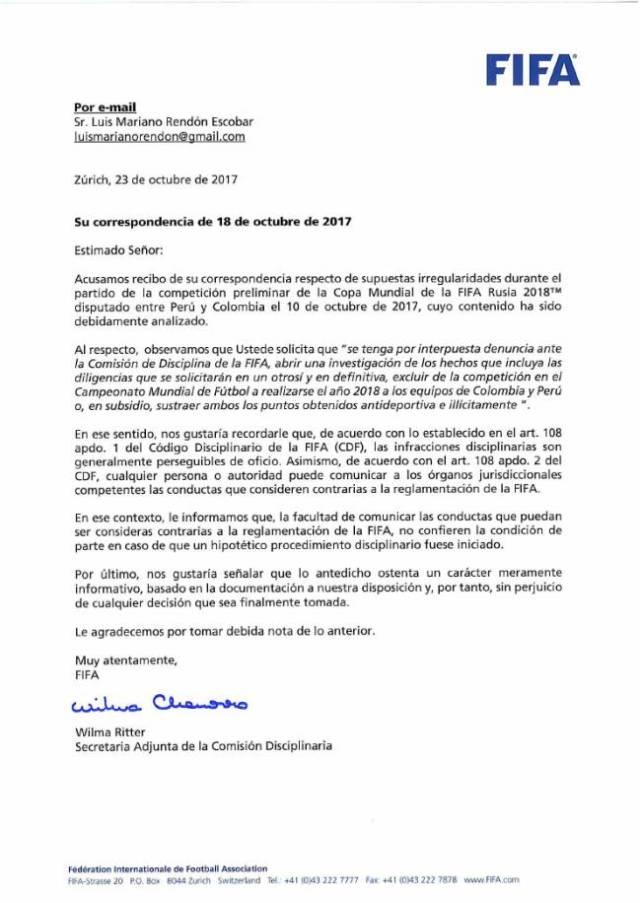 Respuesta de FIFA a la denuncia del abogado chileno por presunto amaño en el Perú-Colombia.