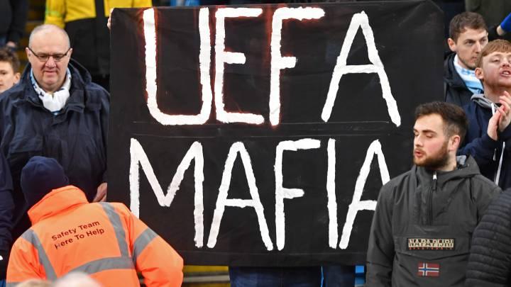 """La afición del City reacciona tras la sanción: """"UEFA Mafia"""""""