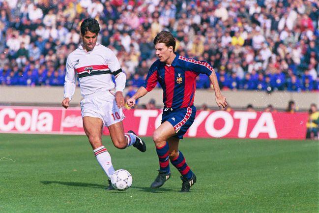 Raí y Laudrup en la Copa Intercontinental de 1992.