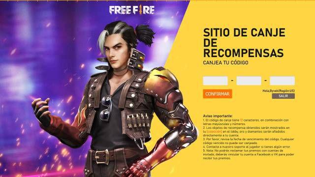 Free Fire: códigos de recompensa gratis hoy