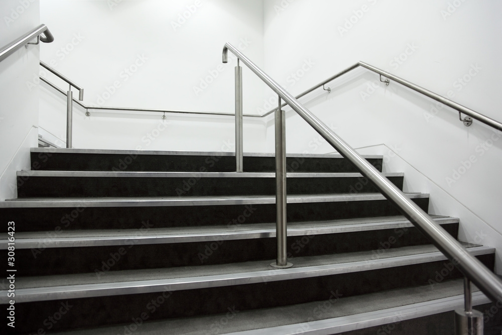 Garden Poster Wide Staircase With Chrome Handrails And Gray Steps | Glass And Chrome Staircase | Fusion | Black Stained | Frameless | Timber Glass | Glass Paneled