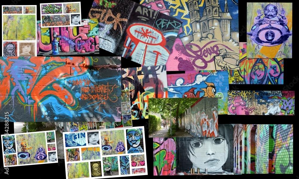 Door Stickers Graffiti Collage Collage Art Urbain Nikkel Art Com
