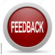 feedback red glossy web icon