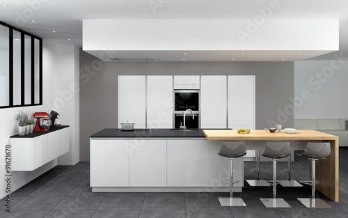 cuisine 07 blanc mat ilot avec table bois mur d armoires