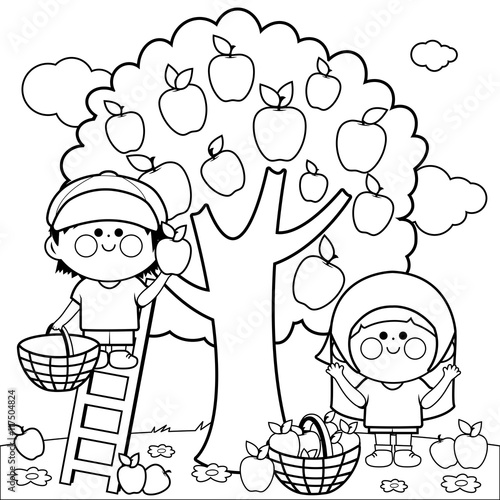 A Boy And A Girl Picking Apples Under An Apple Tree Coloring Book Page Buy This Stock Vector And Explore Similar Vectors At Adobe Stock Adobe Stock