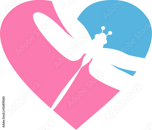 Download Cute Valentine Love Heart with Dragonfly Silhouette - Buy ...