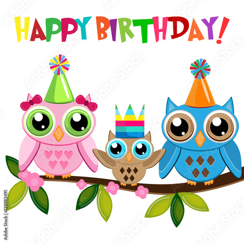 Owl Baby Birthday With Owls Family On A Branch With Text Happy Birthday Stock Vector Adobe Stock