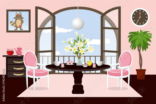 The interior dining room. Cartoon. Cozy room with ...