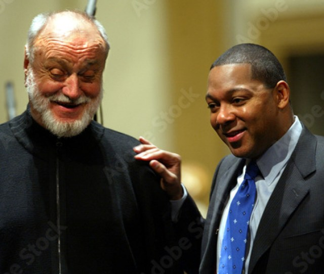 German Conductor Kurt Masur L Stands Next To Jazz Composer Wynton Marsalis Of The