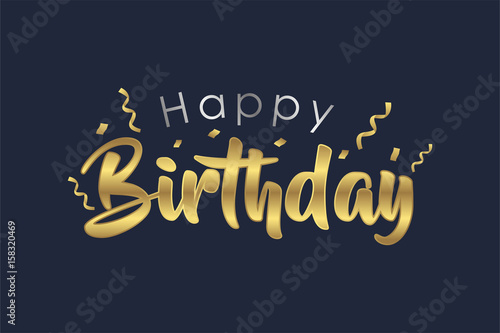 Gold And Silver Happy Birthday Letter Design For Greeting Cards Stock Vector Adobe Stock