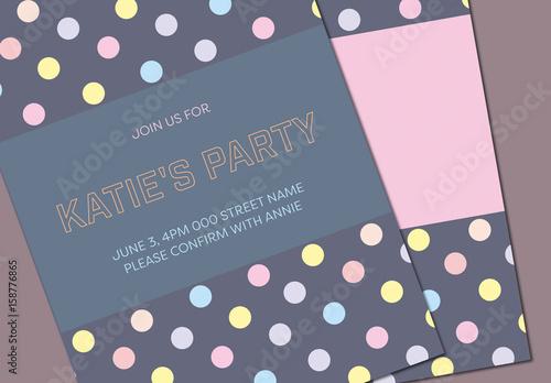 Colorful Polka Dot Birthday Party Invitation Stock Template Adobe Stock