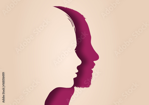 Profil Couple Visage Homme Femme Mariage Silhouette Ensemble Parent Stock Vector Adobe Stock