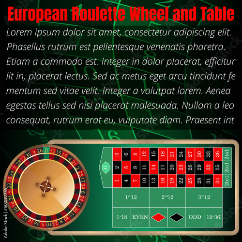European roulette wheel and table layout for online casino, poker ...