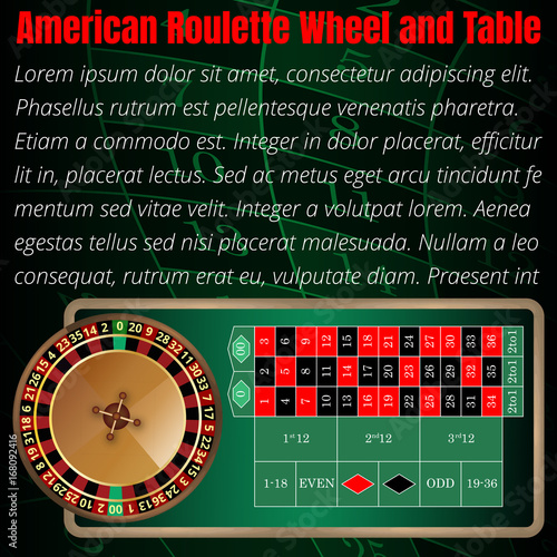 American roulette wheel and table layout for online casino, poker ...
