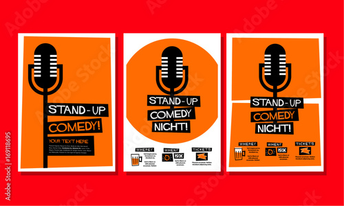 stand up comedy poster template stock