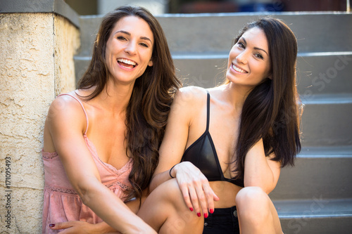 Cute Attractive Sexy Neighbor Brunette American Friends Laughing Giggly And Playful Together