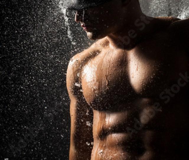 Shirtless Sexy Handsome Man In Shower Portrait