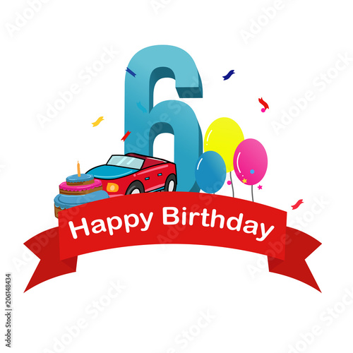 Happy Sixth Birthday Baby Boy Greeting Card With Race Car Cake And Balloons Vector Illustration Stock Vector Adobe Stock