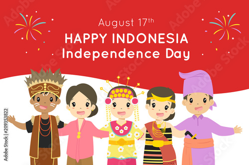Happy Indonesia Independence Day August 17th Vector Design Indonesian Children Wearing Indonesian Traditional Dress Embracing With Indonesian Flag Background Buy This Stock Vector And Explore Similar Vectors At Adobe Stock