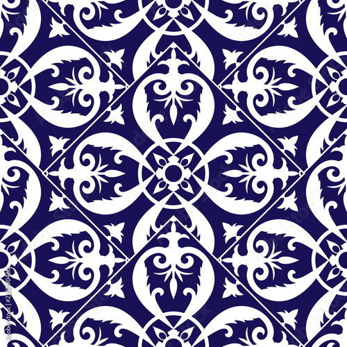 https stock adobe com images mexican tile pattern vector seamless with scale blue and white ornaments portuguese azulejo puebla talavera delft dutch spanish mosaic or italian majolica texture for kitchen or bathroom ceramic 226790460 start checkout 1 content id 226790460