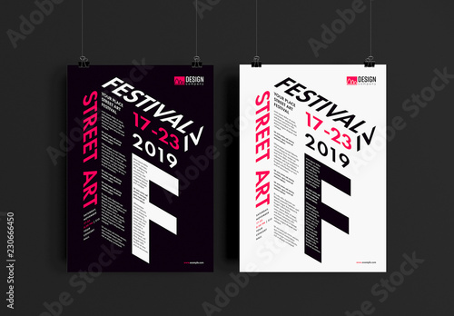 event poster layout with dimensional