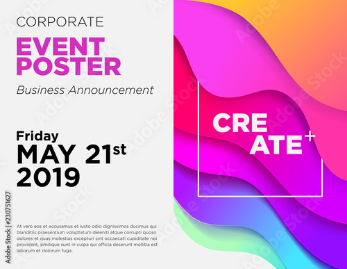 Business Announcement Vector Card Event Poster Template