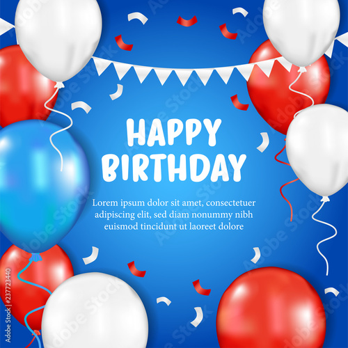 Happy Birthday Greeting Card With 3d Flying Helium Red Blue White Balloon On He Blue Background Vector Illustration Stock Vektorgrafik Adobe Stock