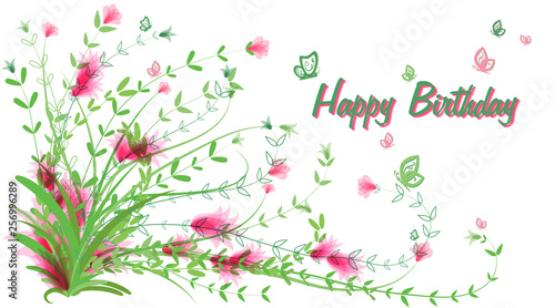 Birthday Card Greeting Card In Vintage Style On A White Background Happy Birthday Delicate Green Bush With Pink Abstract Flowers Vector Stock Vector Adobe Stock