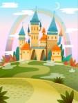 Cute Cartoon Castle. FairyTale Cartoon Castle. Fantasy Fairy Tale Palace With Rainbow. Vector Illustration