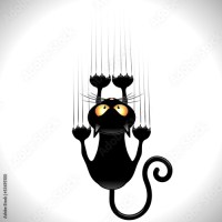 Funny Cat Cartoon Scratching Wall - Copyright©BluedarkArt