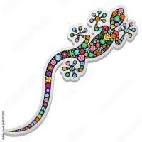 Gecko Lizard Floral Vector illustration by BluedarkArt - SOLD at Adobe Stock - ©BluedarkArt