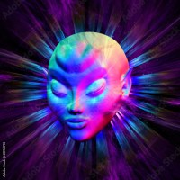 Psychedelic Alien Meditation 3d Digital Art
