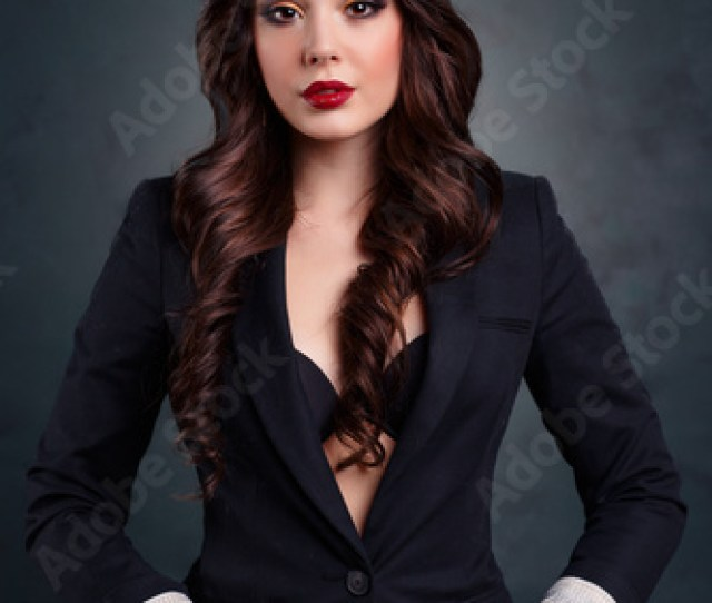 Sexy Business Woman In A Dark Business Suit Sexy Secretary