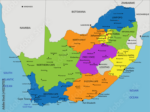 Colorful South Africa political map with clearly labeled  separated     Colorful South Africa political map with clearly labeled  separated layers   Vector illustration
