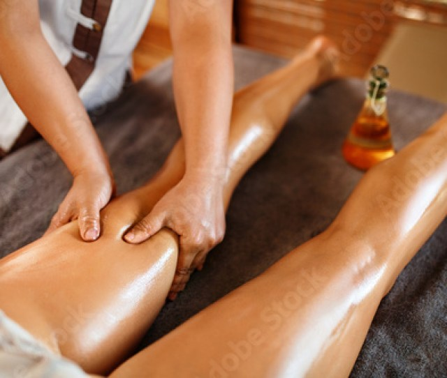 Aromatherapy Oil Leg Massage Therapy Masseur Massaging Sexy Young Long Female Legs In Cosmetology Salon Beauty Treatment Concept Relaxing Body Procedure