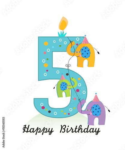 Happy Fifth Birthday With Elephants Baby Boy Greeting Card Vector Stock Illustration Adobe Stock