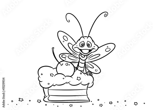 Insect Butterfly Cake Dessert Coloring Pages Illustration Buy This Stock Illustration And Explore Similar Illustrations At Adobe Stock Adobe Stock