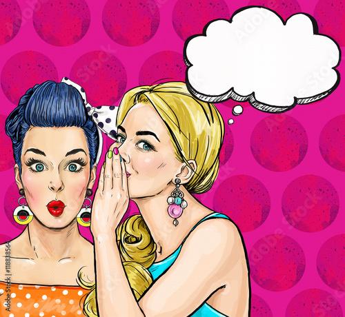 Pop Art Girls With Speech Bubble Party Invitation Birthday Greeting Card Vintage Advertising Poster Comic Woman With Speech Bubble Sexy Girls Gossip Girls With Speech Bubbles Pop Art Background Stock Illustration Adobe Stock