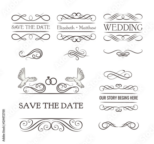 Wedding Ornaments Decorative Elements Vintage Ribbon Frame