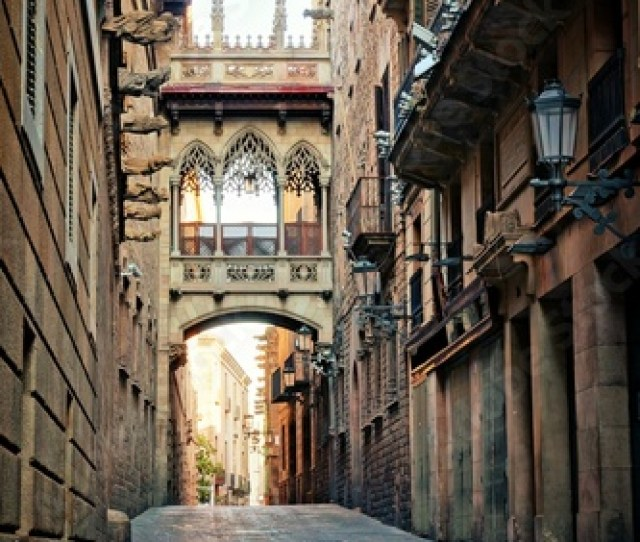 Historic Covered Bridge In The Gothic Quarter Of Old Barcelona Spain