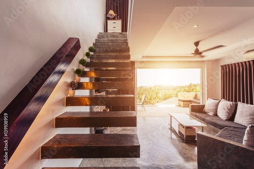 Modern Living Room Interior Design With Concrete Floor And Stairs | Second Floor Stairs Design | Floor Plan | Hall | 1St Floor Veranda | Outside | Most Beautiful