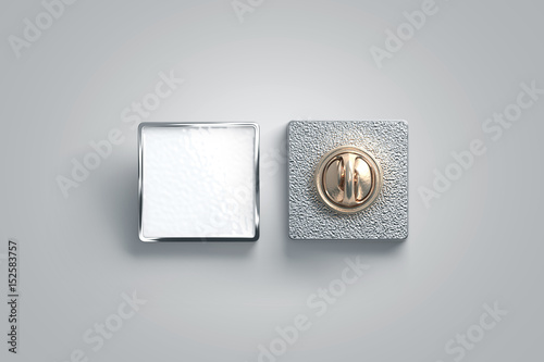 Blank White Enamel Pin Mock Up Front And Back Side View 3d