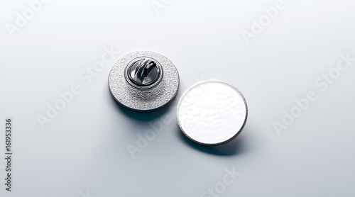 Blank White Round Silver Lapel Badge Mockup Front And Back
