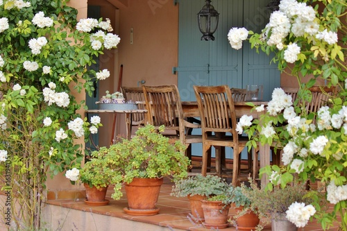 https stock adobe com images cosy french patio in provence with wooden garden furniture surrounded by beautiful white roses 163194135 start checkout 1 content id 163194135