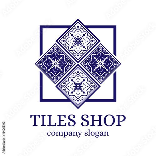 https stock adobe com images tiles shop logo template design vector branding identity emblem with delft mosaic ornament for dutch ceramic store 164068100 start checkout 1 content id 164068100