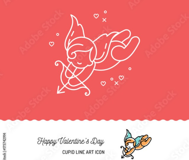 Cupid Colorful Line Art Icons Love Symbol Wedding And Valentines Day Icon Vector