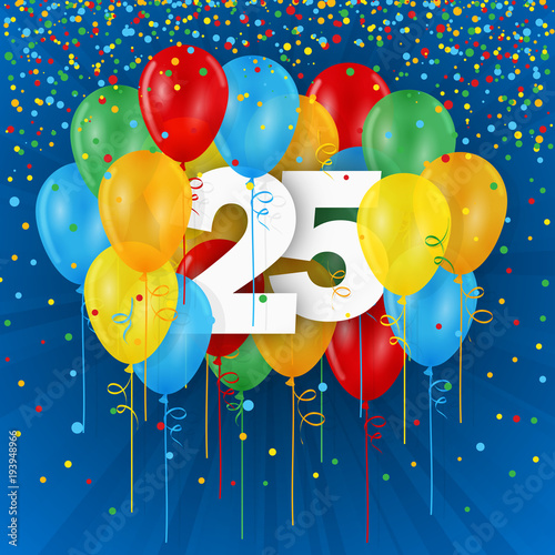 25 Years Happy Birthday Anniversary Banner With Colourful Balloons Stock Vektorgrafik Adobe Stock